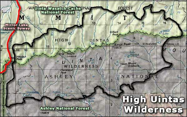 High Uintas Wilderness area map