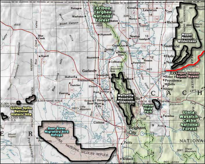 Wellsville Utah Map.Wellsville Mountain Wilderness