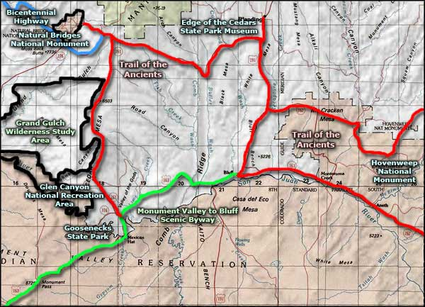 Monument Valley to Bluff Scenic Byway area map