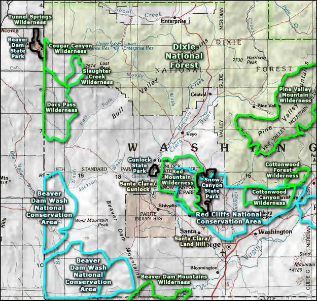 Beaver Dam Wash National Conservation Area area map