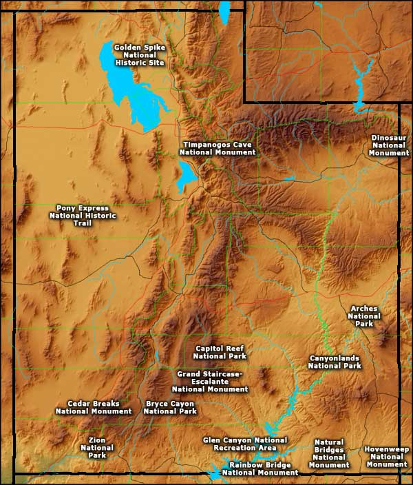 National Park Service Sites In Utah - Utah national parks map