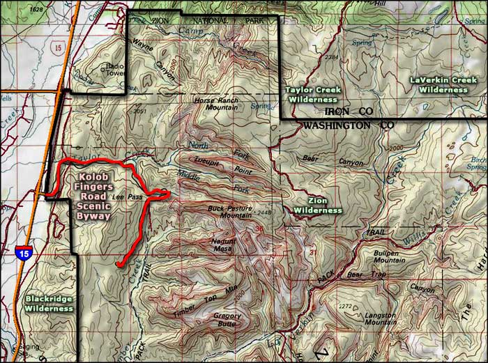 Kolob Fingers Road Scenic Byway map
