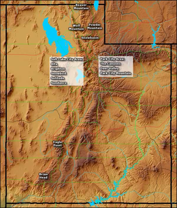 Locations of the Ski and Snowboard areas in Utah