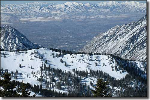 Looking over the Salt Lake Valley from the summit of Snowbird Resort