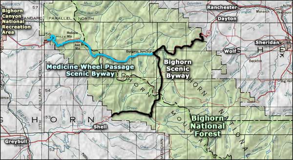 Bighorn Scenic Byway area map