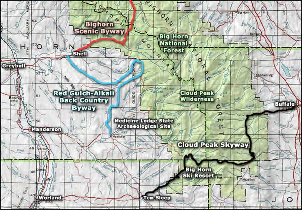 Red Gulch-Alkali National Backcountry Byway area map